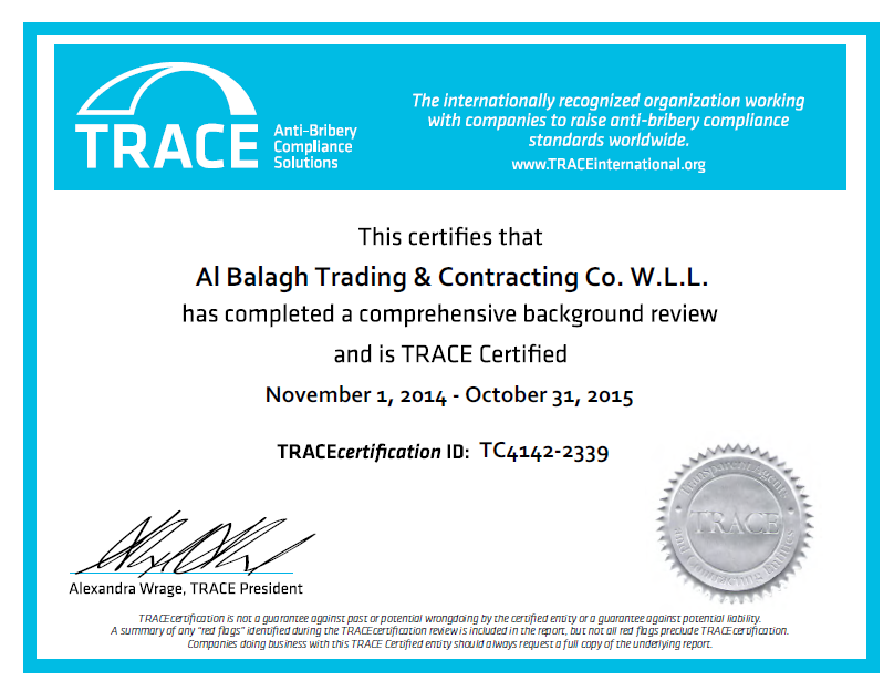 TRACE 2015   Al-Balagh Trading & Contracting